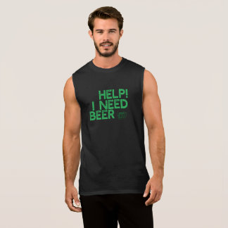 I Need Beer (Sm Dk Gr Print) Funny Muscle T-Shirt