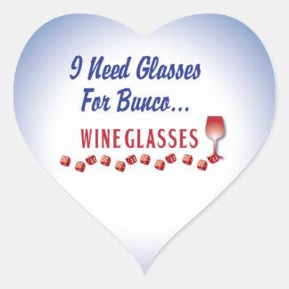 I need glasses for bunco ... wine glasses heart sticker