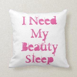 """I Need My Beauty Sleep""on a white throw pillow. Throw Cushions"