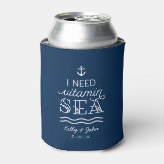 I Need Vitamin Sea Custom Navy Can Coolers