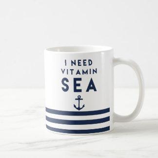 I Need Vitamin Sea Navy Anchor Quote Basic White Mug