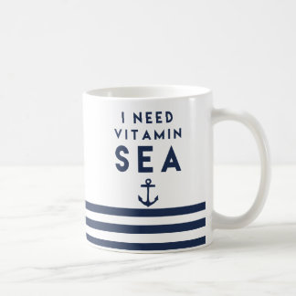 I Need Vitamin Sea Navy Anchor Quote Coffee Mug