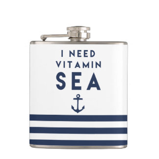 I Need Vitamin Sea Navy Anchor Quote Hip Flask