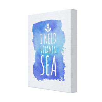 I Need Vitamin Sea Travel Quote Canvas Print