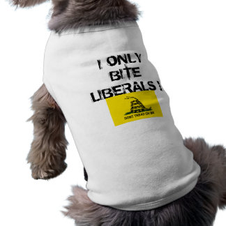 , I ONLY BITE LIBERALS SLEEVELESS DOG SHIRT