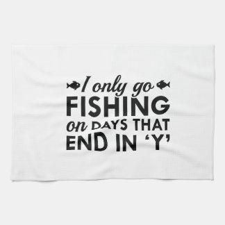 I Only Go Fishing Tea Towel
