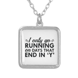 I Only Go Running Silver Plated Necklace