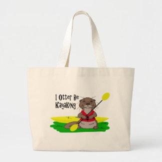 I Otter Be Kayaking Large Tote Bag