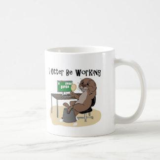 I Otter Be Working Basic White Mug