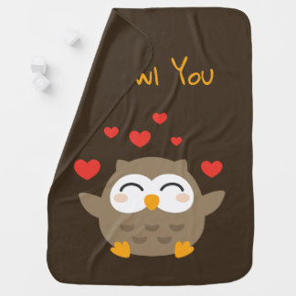 I Owl You Illustration Baby Blanket
