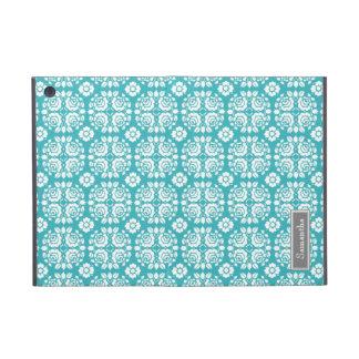 i Pad  Aqua Damask Custom Name Cover For iPad Mini