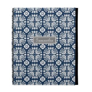 i Pad Aqua Damask Custom Name iPad Folio Cases