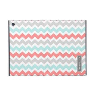 i Pad  Coral Teal Chevron Custom Name iPad Mini Cases