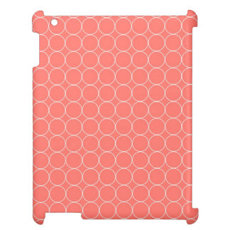 i Pad Coral White Circles Pattern iPad Cover