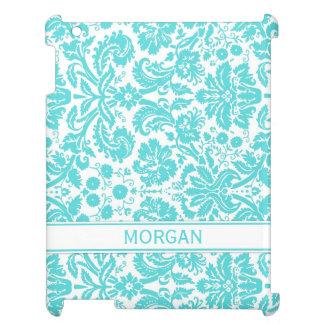 i Pad Custom Name Aqua Floral DamaskPattern Cover For The iPad