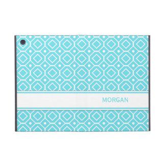 i Pad Custom Name Aqua Geometric Pattern iPad Mini Covers