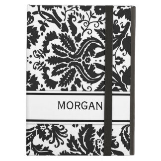 i Pad Custom Name Black Floral Damask Pattern iPad Case