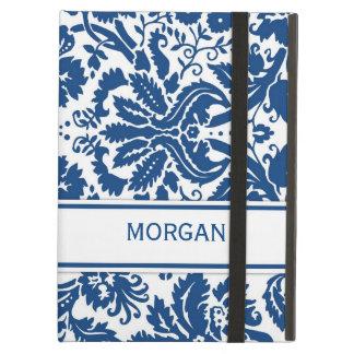 i Pad Custom Name Blue Floral Damask Pattern iPad Cases