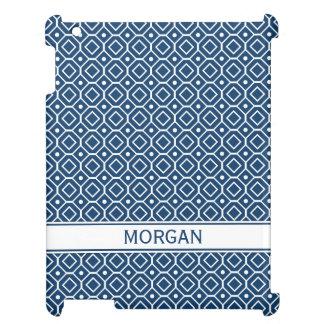 i Pad Custom Name Blue Geometric Pattern iPad Covers