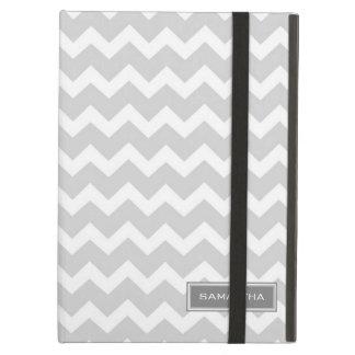 i Pad Gray Chevron Custom Name iPad Air Cover