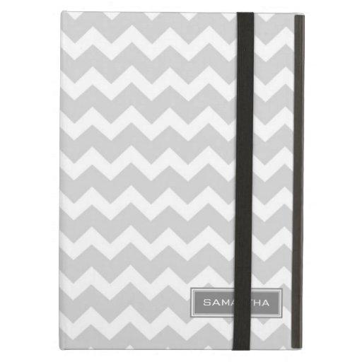 i Pad Gray Chevron Custom Name iPad Folio Cases