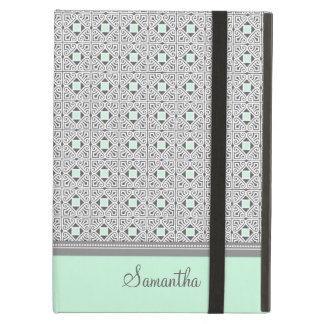 i Pad Gray Mint Pattern Custom Name iPad Air Cover