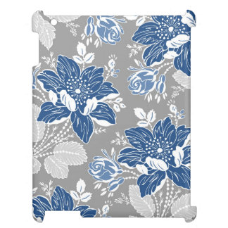 i Pad Mini Blue Gray Floral Pattern iPad Covers
