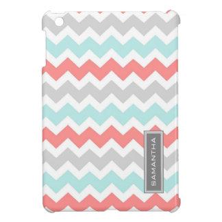 i Pad Mini Coral Teal Chevron Custom Name iPad Mini Cases