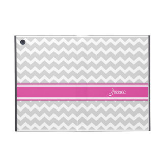 i Pad Mini Hot Pink Gray Chevron Custom Name Case For iPad Mini