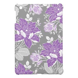 i Pad Mini Purple Gray Floral Pattern iPad Mini Cases