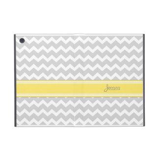 i Pad Mini Yellow Gray Chevron Custom Name iPad Mini Cover