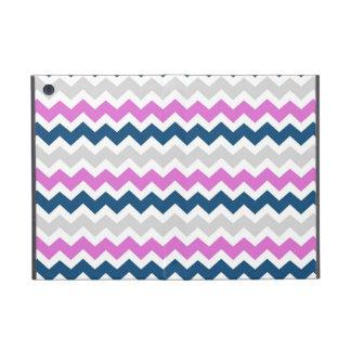 i Pad  Pink Blue Grey Chevrons Pattern Cover For iPad Mini