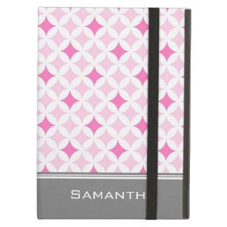 i Pad Pink Grey Pattern Custom Name iPad Air Case