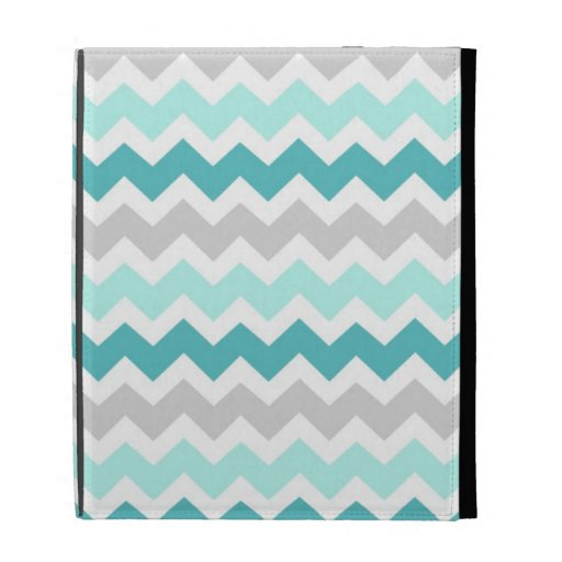 i Pad Teal Grey Chevrons Pattern iPad Cases