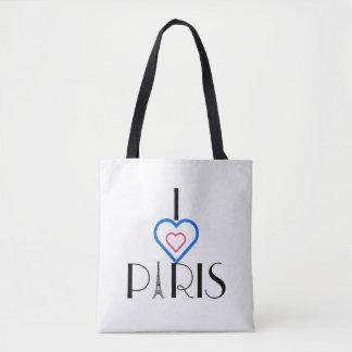 I ❤️ Paris Eiffel Tower/Tricolore Heart Tote Bag