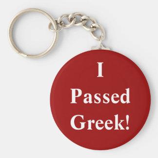 I Passed Greek Basic Round Button Key Ring