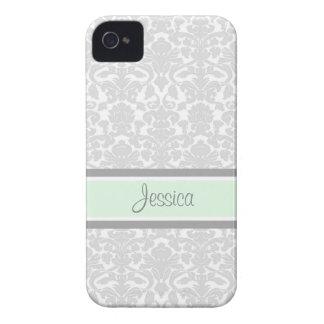 i Phone 4 Mint Damask Custom Name iPhone 4 Case-Mate Cases