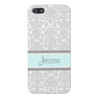 i Phone 5 Blue Gray Damask Custom Name iPhone 5 Cover