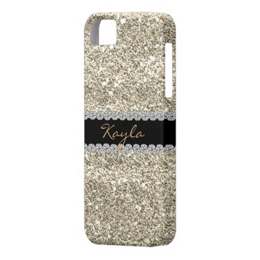 I phone 5 CASE Custom GOLD GLITTER Bling iPhone 5 Cover