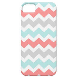 i Phone 5 Coral Aqua Grey Chevrons Pattern iPhone 5 Case