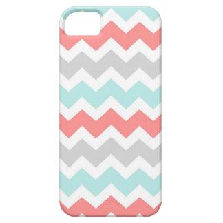 i Phone 5 Coral Aqua Grey Chevrons Pattern iPhone 5 Case