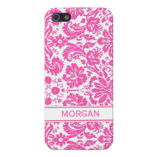 i Phone 5 Custom Name Pink Floral Damask Pattern Case For iPhone 5/5S