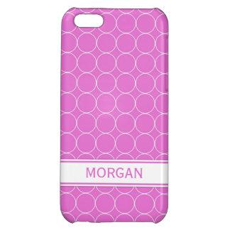 i Phone 5 Custom Name Pink White Circles Pattern Case For iPhone 5C