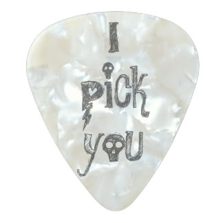 I pick you cute sweet musician saying quote pearl pearl celluloid guitar pick