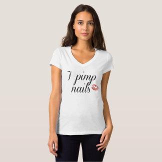 I pimp nails v neck tee shirt