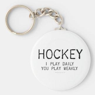 I Play Daily Hockey Basic Round Button Key Ring
