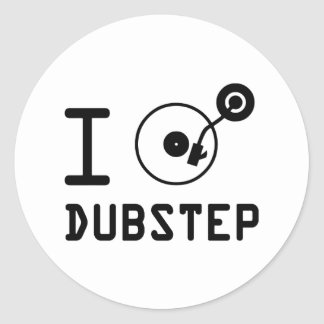 I play Dubstep / I love Dubstep / I heart Dubstep Round Sticker