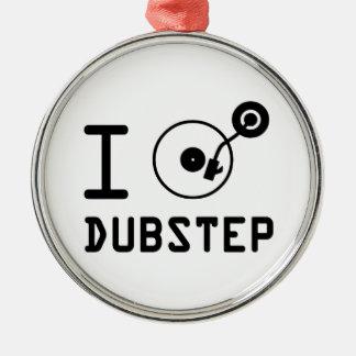 I play Dubstep / I love Dubstep / I heart Dubstep Silver-Colored Round Decoration