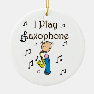 I Play Saxophone Stick Figure T-shirts and Gifts Ceramic Ornament