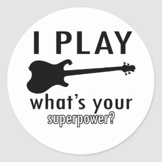 I play the electric guitar classic round sticker